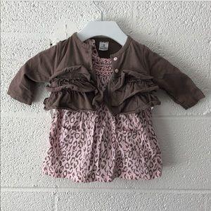 Carters 2 piece leopard dress and cardigan set